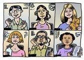 Online meetings - cartoon characters on virtual meeting