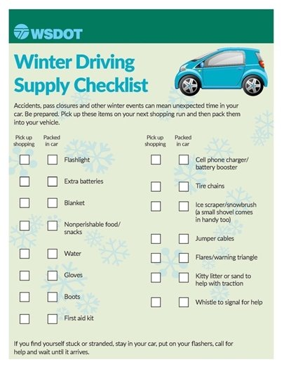 WSDOT Winter Driving Supply Checklist
