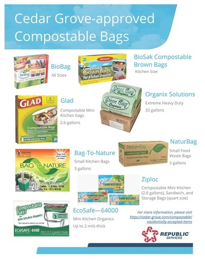 Cedar Grove-approved Compostable Bags