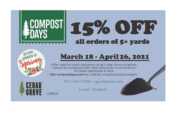 Coupon for 15% off bulk purchase of compost.