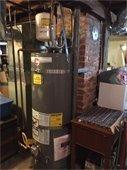 Hot water tank in a basement