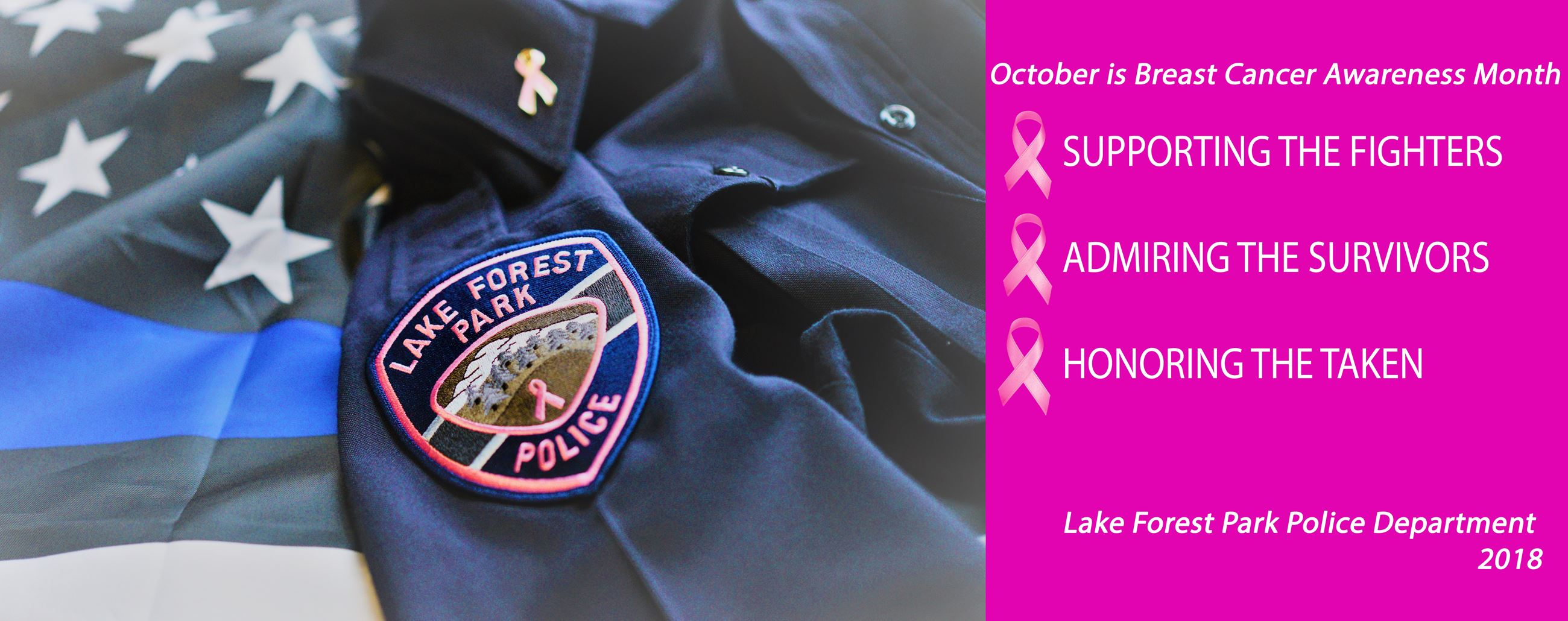 Photo of the Lake Forest Park pink law enforcement patch displayed on the arm of a uniform