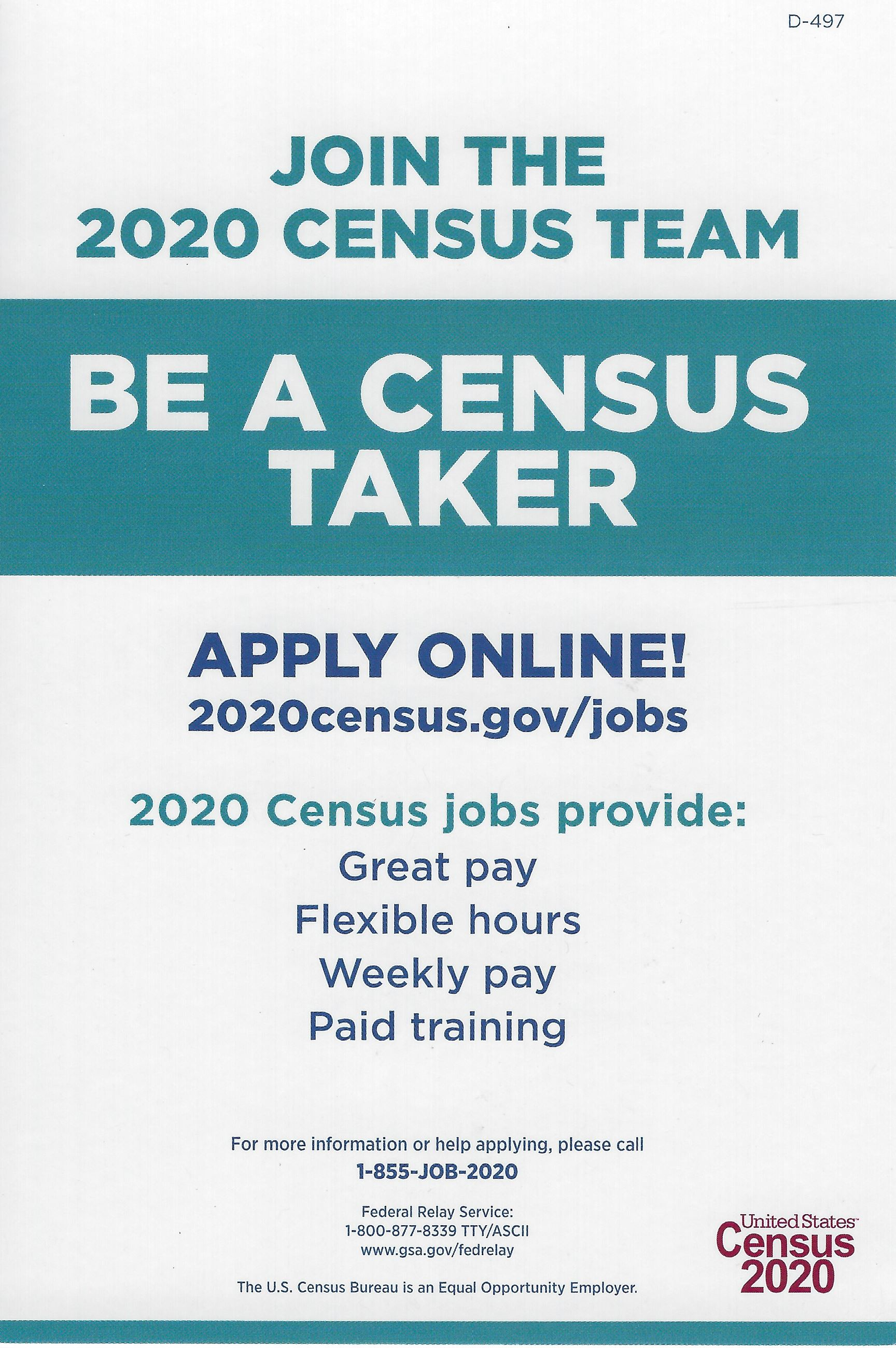 Image shows join the 2020 Census Team by calling 1-855-JOB-2020 or the website 2020Census.com/jobs